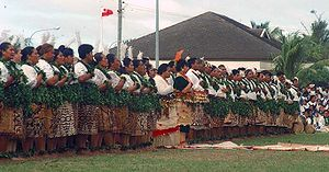 Lakalaka - The lakalaka from Kanokupolu for the 70th birthday of the king of Tonga. Princess Pilolevu Tuita as vāhenga