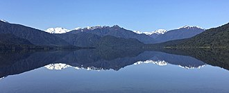 Lake Kaniere is a glacial lake in the West Coast region of New Zealand. Lake Kaniere.jpg