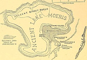 Lake Moeris - Map of ancient lake Moeris, the shaded part shows the land reclaimed by the kings of the Twelfth Dynasty