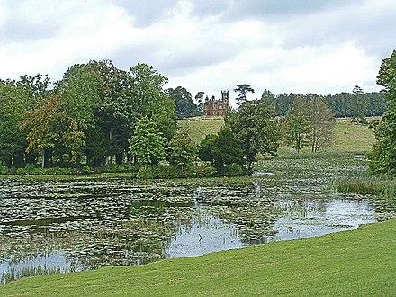 Stowe Landscape Garden Lake at Stowe Landscape Garden with Temple in distance - geograph.org.uk - 77696.jpg