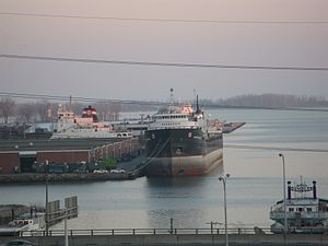 Lake freighter Quebecois, at dusk, Toronto, 2012 03 21 -a.jpg