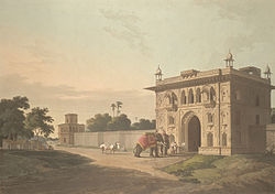 Gate of the Lal-Baugh at Faizabad; by Thomas and William Daniell, 1801* (BL).