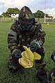 Lance corporal marks an area of chemical contamination.jpg