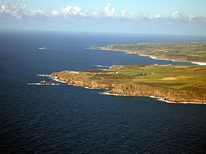 Penwith - Aerial photo looking across Land's End to Cape Cornwall