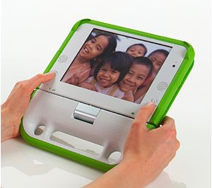 One Laptop per Child - OLPC XO-1 laptop in e-book mode