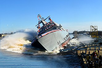 Ceremonial ship launching - Sideways launch of USS St. Louis in 2018