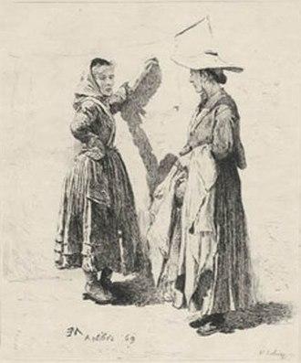 Adolphe Lalauze - Lavandieres, Antibes (Washerwomen, Antibes) 1869