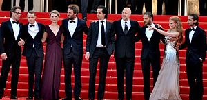 Lawless (film) - From left: Pearce, DeHaan, Wasikowska, Clarke, Cave, Hillcoat, Hardy, Chastain, and LaBeouf at the film's 2012 Cannes Film Festival screening