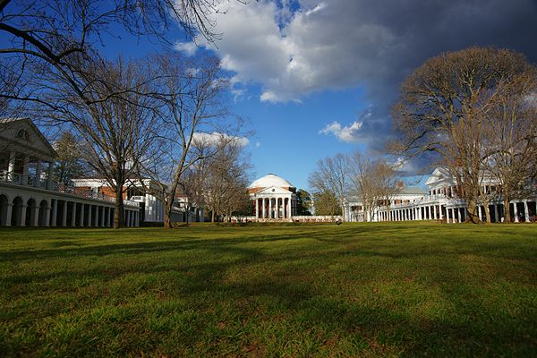 "The University of Virginia, Jefferson's ""Academical Village"" Lawn UVa colorful winter sun 2010.jpg"