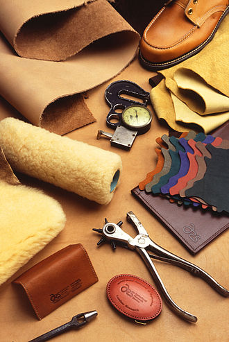 Leather - A variety of leather products and leather-working tools