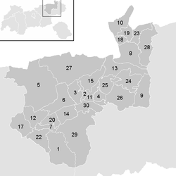 Location of the municipality of Kufstein district in the Kufstein district (clickable map)