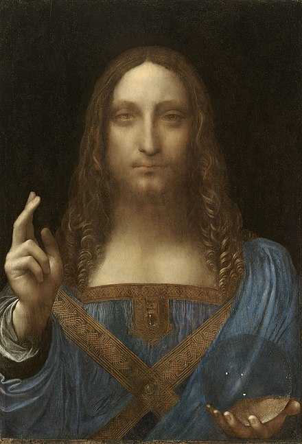 Salvator Mundi by Leonardo da Vinci (c. 1500) is the most expensive painting ever sold as of 2019. Leonardo da Vinci, Salvator Mundi, c.1500, oil on walnut, 45.4 x 65.6 cm.jpg
