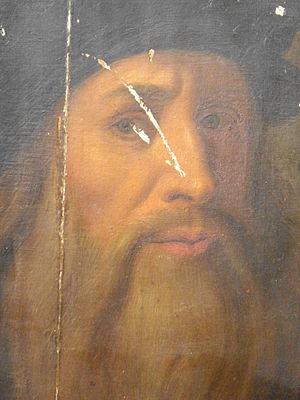 Lucan portrait of Leonardo da Vinci - Detail revealing paint, craquelure, damage and overpainting