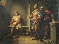 Leopold Schulz - Ludwig der Bayer verkündet Friedrich dem Schönen 1314 seine Freilassung und bietet ihm die Mitregentschaft an - 7788 - Kunsthistorisches Museum.jpg