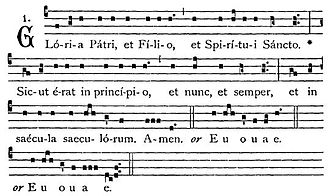 Gloria Patri - A Latin chant setting of the Gloria Patri from the Liber Usualis, with two euouae alternatives.