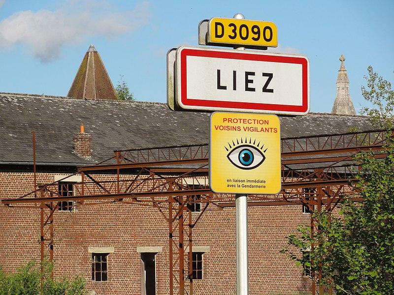 Liez (Aisne) city limit sign