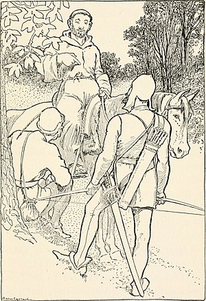 Robin Hood and the Monk - An illustration from Life in the Greenwood (1909)
