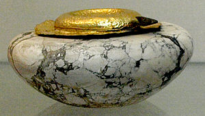 Khasekhemwy - Image: Limestone Vessel With Gold Cover From Tomb Of Khasekhemwy 1 British Museum August 21 08