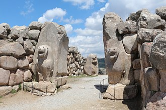Anatolia - The Lion Gate at Hattusa, capital of the Hittite Empire. The city's history dates to before 2000 BC.