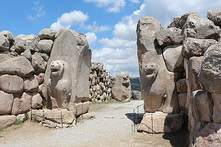 The Lion Gate at Hattusa, capital of the Hittite Empire. The city's history dates to before 2000 BC. Lion Gate, Hattusa 01.jpg