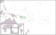 A map showing the location of Solomon Islands