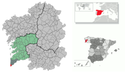 Situation of A Guarda within Galicia