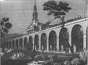 London Bridge – Greenwich Railway Viaduct - The viaduct near Bermondsey church in 1836