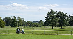 East Potomac Park Golf Course - Looking south along the Blue Course fairway at the Red Course fairway in 2013.