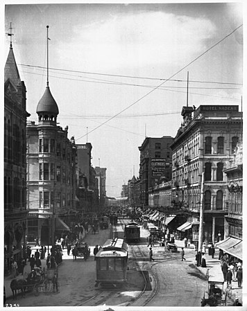 Looking south on Spring Street from First Street, Los Angeles, 1900-1910 (CHS-2348).jpg