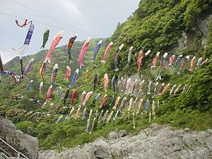 Koinobori - Koinobori flying in Oboke Koboke, Iya Valley, Tokushima Prefecture