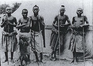 Ota Benga - Benga (second from left) and the Batwa in St. Louis