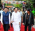 M. Venkaiah Naidu and the Minister of State for Information & Broadcasting, Col. Rajyavardhan Singh Rathore arrives at the closing ceremony of the First BRICS Film Festival, in New Delhi.jpg