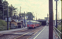 MBTA PCC 3004 Reservoir station in 1967.jpg