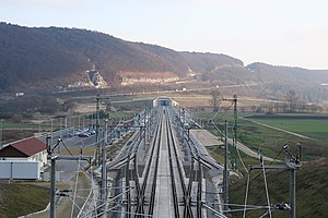 Kinding (Altmühltal) station - The station looking towards the Irlahüll Tunnel
