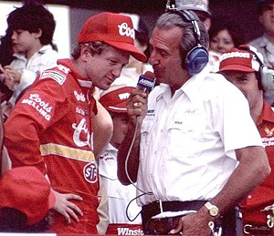 Motor Racing Network - MRN's Ned Jarrett interviewing Bill Elliott after a victory