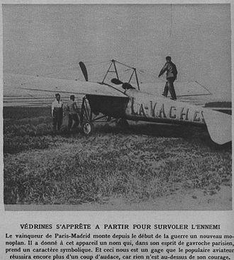 Jules Védrines - Védrines and his Blériot XXXVIbis La Vache, 31 August 1914