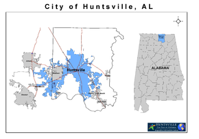 Madison County Alabama with Current Huntsville Corporate Limits Highlighted in Blue.png