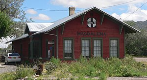 National Register of Historic Places listings in Socorro County, New Mexico - Image: Magdalena, NM Santa Fe depot from W 1