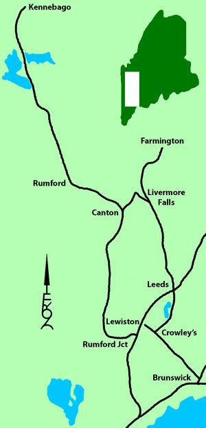 Rumford Branch - Maine Central Railroad Rangeley branch, Livermore Falls branch, Farmington branch and Lewiston branch in 1917.