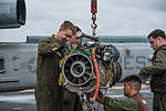 Maintenance on GE T700 engine aboard USS Bonhomme Richard (LHD-6) in March 2015.JPG