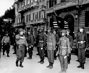 92nd Infantry Division (United States) - Major General Edward Almond, Commanding General of the 92nd Infantry Division, inspects his troops during a decoration ceremony, March 1945.