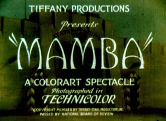 Tiffany Pictures - Title card for Mamba (1930)
