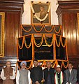 Manmohan Singh, the Chairman, BJP Parliamentary Party, Shri L.K. Advani and other dignitaries after paying floral tributes at the portrait of Netaji Subhas Chandra Bose on his Birth Anniversary, at Parliament House.jpg