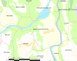 Mapa obce Massignieu-de-Rives