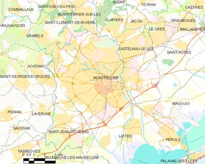 Carte De La Commune Montpellier Et Des Proches Communes