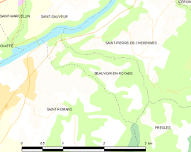 Mapa obce Beauvoir-en-Royans