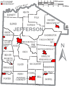 Map of Jefferson County, Pennsylvania with Municipal Labels showing Boroughs (red) and Townships (white).