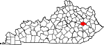State map highlighting Wolfe County