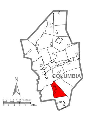 Locust Township, Columbia County, Pennsylvania - Image: Map of Locust Township, Columbia County, Pennsylvania Highlighted