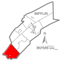 Map of Mifflin County, Pennsylvania highlighting Wayne Township